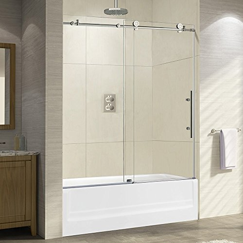 Buy Discount WOODBRIDGE Frameless Sliding Bathtub Door, 56-60 Width, 62 Height, 3/8 (10 mm) Clea...