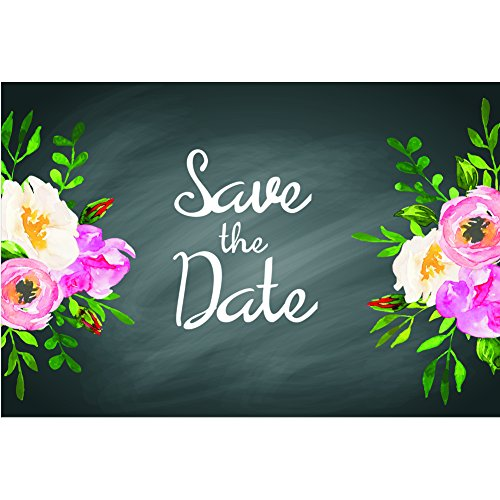 Chalkboard Floral Save The Date Postcards - 4in. X 6in. (50)