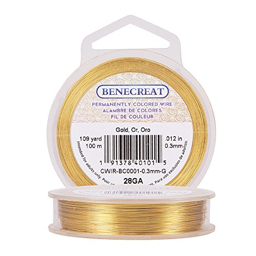 BENECREAT 28-Gauge Tarnish Resistant Gold Wire, 328-Feet/109-Yard