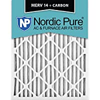 Nordic Pure 20x25x2M14+C-3 MERV 14 Plus Carbon AC Furnace Air Filters, Qty-3