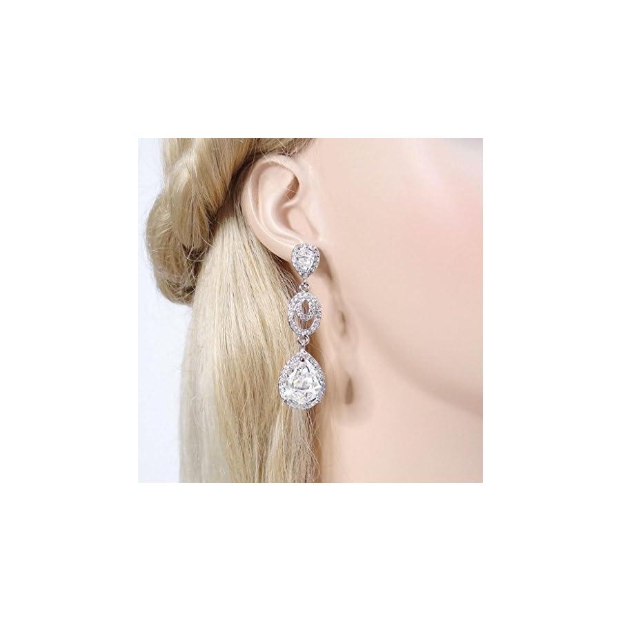 EVER FAITH Austrian Crystal Zircon Wedding 2 Teardrop Pierced Dangle Earrings
