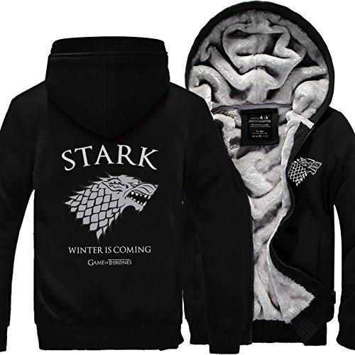 Game of Thrones House Stark Hoodies Men New Winter Zipper Coat - Thrones Hoodie Of Game
