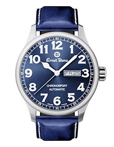 Ernst Benz Chronosport Blue Dial White Numerals 44mm Men's Swiss Automatic Watch (Swiss Eta 2836 2 Automatic)