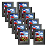 4x6 picture frames - Icona Bay 4 x 6 Inch Picture Frames (4x6, 12 Pack) Bulk Set, Satin Black, Wall Mount Hangers and Table Top Easel, Display Horizontally or Vertically, Allure Collection