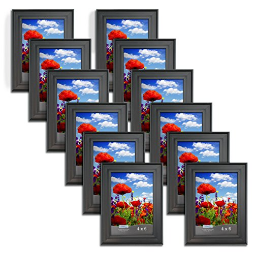 Icona Bay 4 x 6 Inch Picture Frames (4x6, 12 Pack) Bulk Set, Satin Black, Wall Mount Hangers and Table Top Easel, Display Horizontally or Vertically, Allure Collection (Table Photo Frame Set)