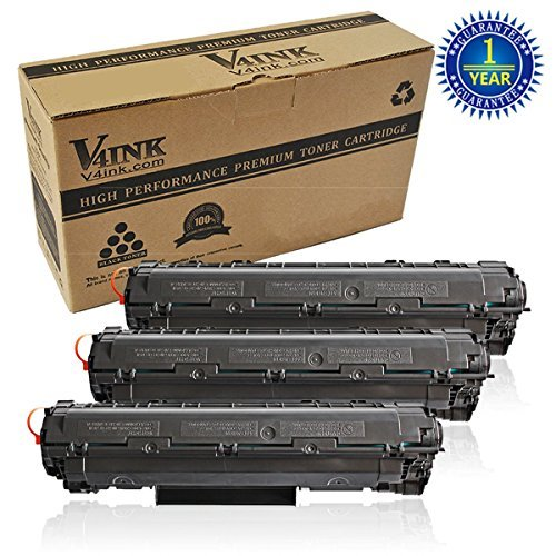 3 Pack V4INK® New Compatible Canon 128 (3500B001AA) CE278A 78A Toner Cartridge-Black