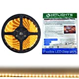 Weatherproof Warm White LED Light Strip, 3528-16.4 Feet, 300 LEDs, 3000K, 72 Lumens per Foot. 12V DC