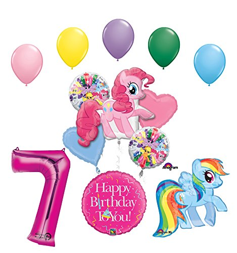 My Little Pony Pinkie Pie and Rainbow Dash 7th Birthday Party Supplies and Balloon Decorations