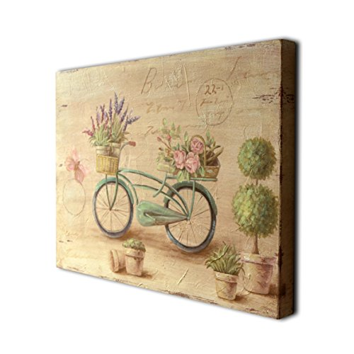 CVHOMEDECO. Primitive Vintage Hand Painted Wooden Frame Wall Hanging 3D Painting Decoration Art, Bicycle Flower Butterfly Design, 15-3/4