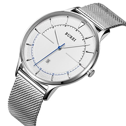 BUREI Unisex Silver Thin Minimalist Wrist Dress Watches with Large Face Calendar Mineral Glass Mesh - Mens Round Face