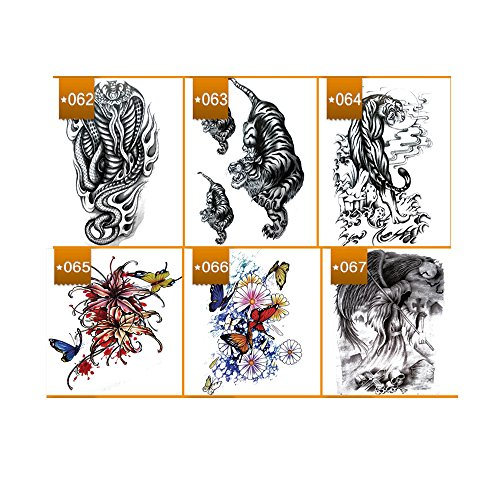 (VanTattoo (6Sheets) Fashion Body Art Stickers Removable Waterproof Temporary Tattoo –Snake, tiger, colored butterfly,)