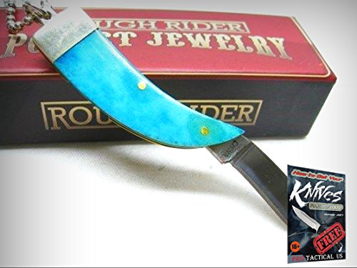 ROUGH RIDER Turquoise Bone BEAR CLAW Straight Folding NECK Knife + Chain! 0011217 + free eBook by ProTactical'US Bear Claw Neck Knife