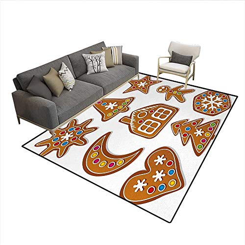 Floor Mat,Graphic Gingerbread Sugar Biscuits with Colorful Dots Bonbons Print,3D Printing Area Rug,Brown MulticolorSize:5'x8'