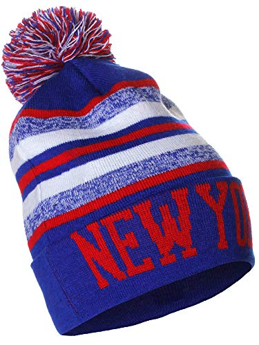 American Cities New York Block Letters Pom Pom Knit Hat Cap Beanie with Detachable Pin