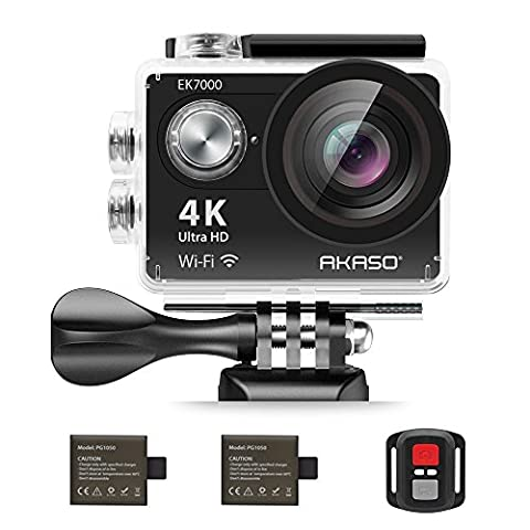 AKASO EK7000 4K Action Camera WIFI Ultra HD Waterproof Sports DV Camcorder 12MP 170 Degree Wide Angle 2 inch LCD Screen/2.4G Remote/2 Rechargeable Batteries/19 Mounting Kits-Black (2017 - 32 Class Lcd