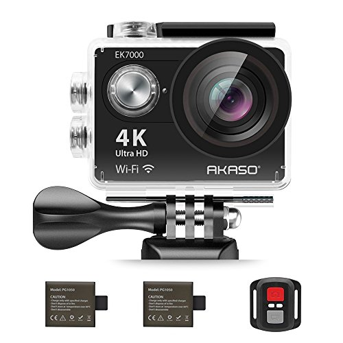 : AKASO EK7000 4K Action Camera WIFI Ultra HD Waterproof Sports DV Camcorder 12MP 170 Degree Wide Angle 2 inch LCD Screen/2.4G Remote/2 Rechargeable Batteries/19 Mounting Kits-Black (2017 Version)