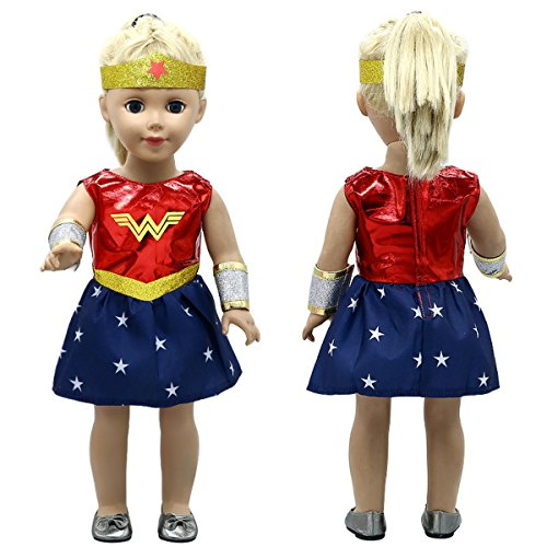 Good Look Doll Costume - Wonder Doll - Inspired by Wonder Woman - For 18 inch Dolls - 3 Piece (Wonder Woman Costumes For Little Girl)