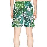LKIMNJ Mens Print Swim Trunks Tropical Green Marijuana Leaf Quick Dry Comfortable Pockets Mesh Lining