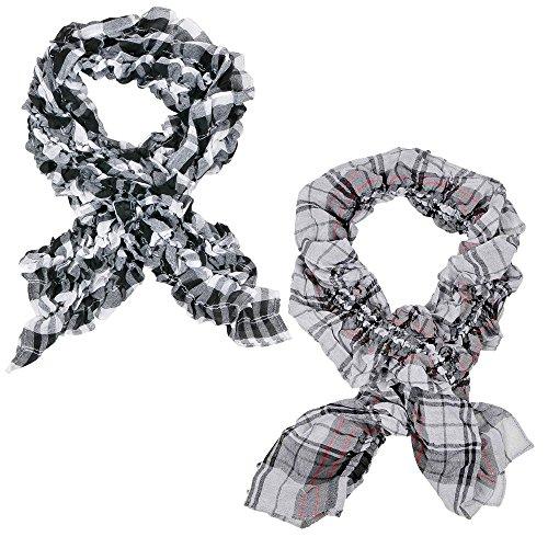 2toallas bufanda bufanda Crinkle Top con bufanda larga bufanda para mujer blusa chaqueta cuadros rayas en rosa y negro mod 3