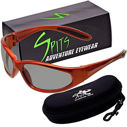 - Hercules Photochromic Light Adjusting Safety Glasses - Orange Frame - Smoke/Clear Lenses