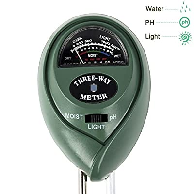 3-in-1 Soil Moisture Meter For Home & Garden. Soil Ph Meter, Soil Water Monitor, Soil Light Sensor, No Batteries! Great For Gardening, Farming, Indoor, Outdoor