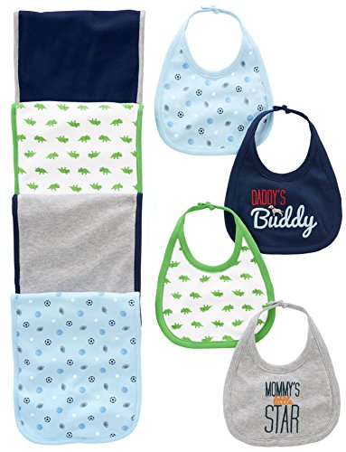 (Simple Joys by Carter's Baby Boys' 8-Pack Burp Cloth and Bib Set, Sports/Dino, One Size)