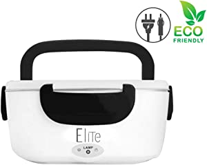 Elite Electric Lunch Box - 2 in 1 Portable Food Warmer Heated Lunch box Cook meals at Home/Office/Car/Travel Portable lunch box warmer - Black Unisex Modern Design
