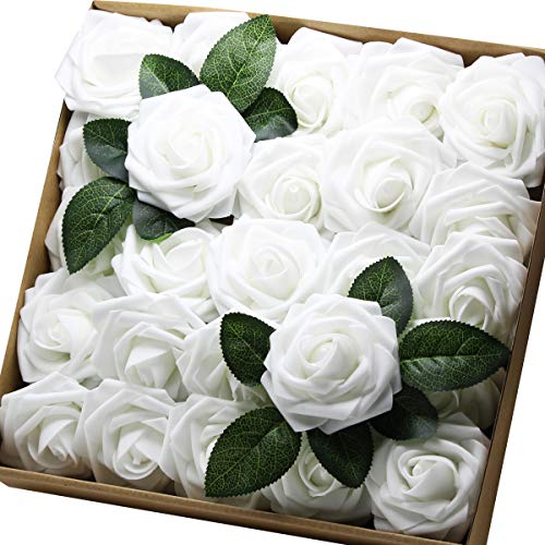 (Artificial Flowers Real Touch Fake Latex Rose Flowers Home Decorations DIY for Bridal Wedding Bouquet Birthday Party Garden Floral Decor - 25 PCs)