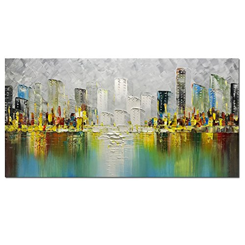 Framed Original Painting - Metuu Modern Canvas Paintings, Texture Palette Knife Landscape Paintings Modern Home Decor Wall Art Painting Original Hand Painted Landscape Wood Inside Framed Ready to hang 24x48inch