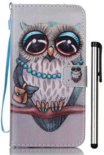 Style Custom Card Folio - For iPhone 8 Plus Case, iPhone 7 Plus Wallet Case, [Folio Style] Premium Card Cases Stand Feature for Apple iPhone 7Plus 8Plus 5.5 Inch Protective PU Leather Flip Cover Grey Owl [Not Fit iPhone7 4.7]