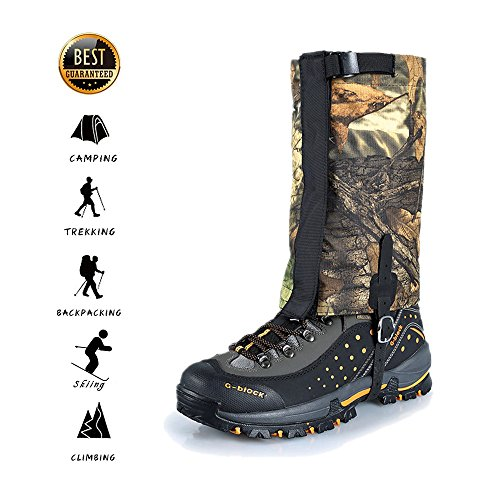 UNISTRENGH Hiking Shoes Gaiters Waterproof Snow Boot Gaiter for Outdoor Walking Hunting Climbing Mountaineering, Camouflage