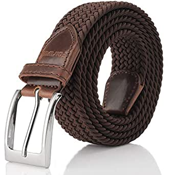 "No Buckle Stretch Belts for Men and Women, Buckle Free No Shown Invisible Belt for pants, dresses, wind coat, sweaters (Brown, Pants Size 22""-32"")"