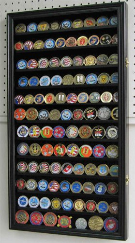 (LARGE 108 Challenge Coin/Casino Chip Display Case Holder Rack Cabinet, Glass door (Black Finish))