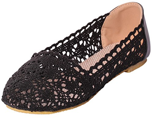 UJoowalk Womens Comfortable Breathable Hollow out Embroidered Crochet Lace Ballet Shoes Slip on Flats (5 B(M) US, (Adult Cheer Bear Dress)
