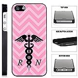 [TeleSkins] - Pink Chevron Rn Nurse - iPhone SE / 5 / 5S Black Plastic Case - Ultra Durable Slim & HARD PLASTIC Protective Vibrant Snap On Designer Back Case / Cover. [Fits iPhone SE / 5 / 5S]