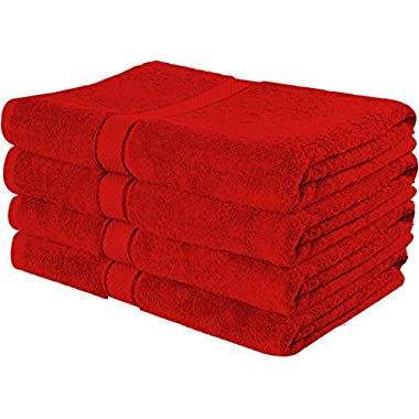 Premium Cotton Bath Towels (4 Pack, Red, 30 x 56 Inch) - Ringspun Cotton for Maximum Softness and Absorbency - by Utopia Towels