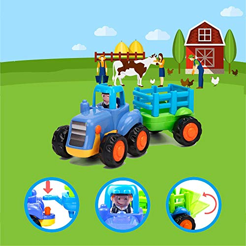 Yiosion Push and Go Friction Powered Cars Construction Vehicles Toy Set Tractor Bulldozer Mixer Truck Dumper for 1 2 3 Year Old Baby Toddlers Boys Gift