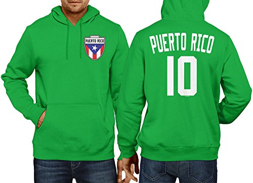Mens Puerto Rico - Soccer, Football Hoodie Sweatshirt (Medium, KELLY GREEN) (Football Sweatshirt Hooded Hoodie Ball)
