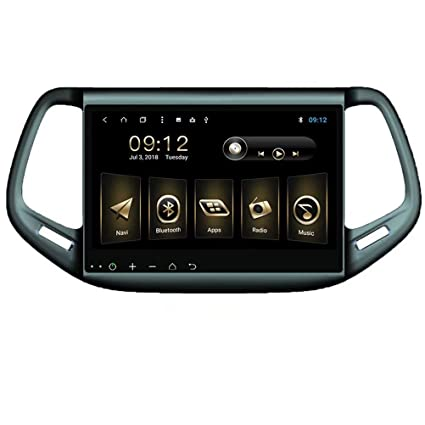 TOPNAVI 10.1Inch Indsah Android 8.1 Car Navigation for Jeep Compass 2016 2017 2018 Auto Stereo Radio GPS Player with 32GB R0M 2GB RAM Octa Core WiFi 3G RDS ...