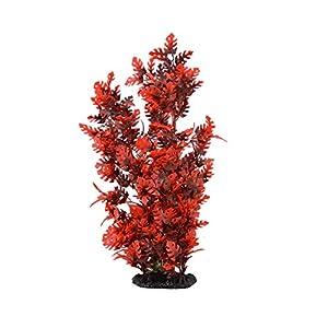 CNZ Aquarium Decor Fish Tank Decoration Ornament Artificial Plastic Plant Red, 15-inch 37
