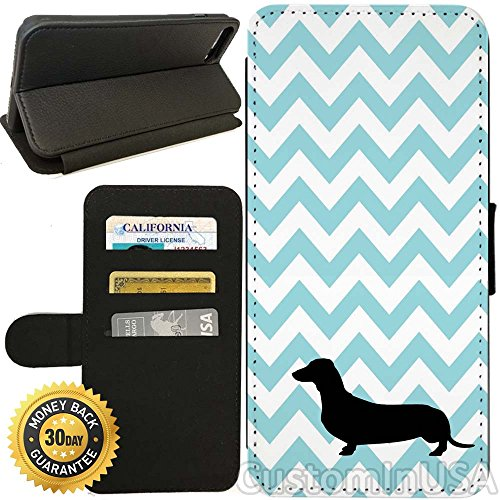 Flip Wallet Case for iPhone 7 (Chevron Dachshund) with Adjustable Stand and 3 Card Holders | Shock Protection | Lightweight | by Innosub