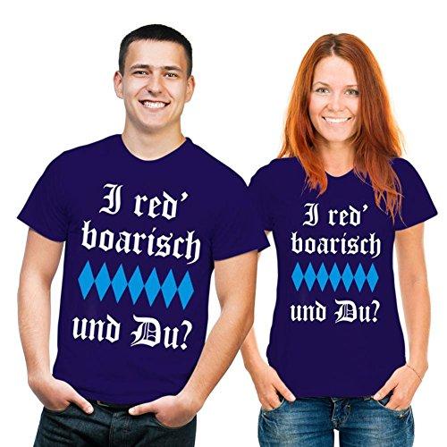 Fun T-shirt I red' boarisch und Du? Fb navy blau