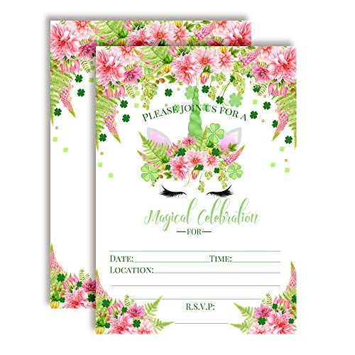 St. Patrick's Day Clover Watercolor Floral Unicorn Face with Pink Dahlias Birthday Party Invitations, 20 5