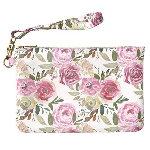 Lex Altern Makeup Bag 9.5 x 6 inch Vintage Roses Pink Bouquets Floral Cute Watercolor PU Leather Case Toiletry Women Zipper Organizer Bathroom Storage Wristband Girl Design Print Purse Pouch Cosmetic