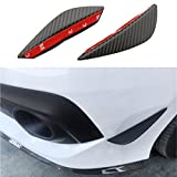 Universal 2pcs Patten Front Bumper Splitter Fins Body Diffuser Fins Canard Valence Chin Carbon Fiber Looks Fit For All Car Such As Impreza Civic Mustang