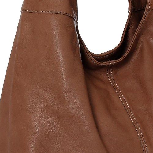 GRAINÉ main porté l'épaule plusieurs à CASPAR pour souple TL610 coloris Sac Shopping en à vrai CUIR marron femme n0w6xp7Ep