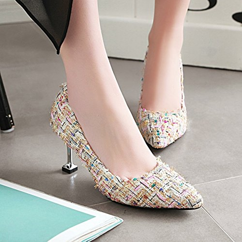 Charm Foot Womens Fashion Multicolor High Heel Pumps Shoes Pink MHFepHE