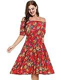 ELESOL Women Flower Print Off Shoulder Pleated Waist Tea Dress Red S