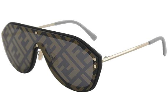 2m2 Gold Ff Sunglasses Mirror M0039gs Black Plastic Fendi Shield Lens99 145 7y Men Print 1 zpUSqMV