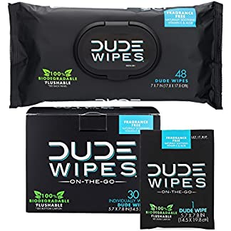 DUDE Wipes Flushable Wet Wipes (48 Count Dispenser and 30 Single Wipes)